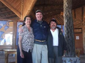Chris Scammons with Mario and Sara in Guerrero Negro during his 2011 visit.