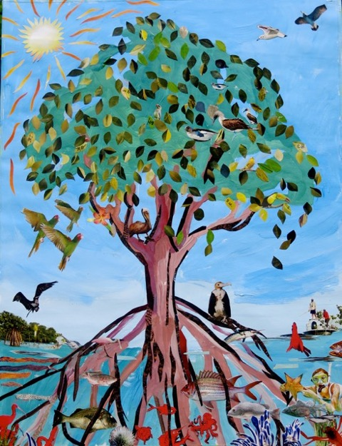 Mangrove Circle of Life. Collage by Tori Sepulveda and her students Monica Devine, Carol Bailey, Susan Willison, Joanna Spinoza, Christine Douglas and William Dubroraw.